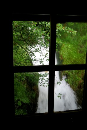 Waterfall view from bathroom/Old water mill