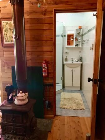 Cabin bathroom and small stove