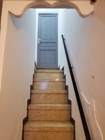 Stair from ground to middle floor.