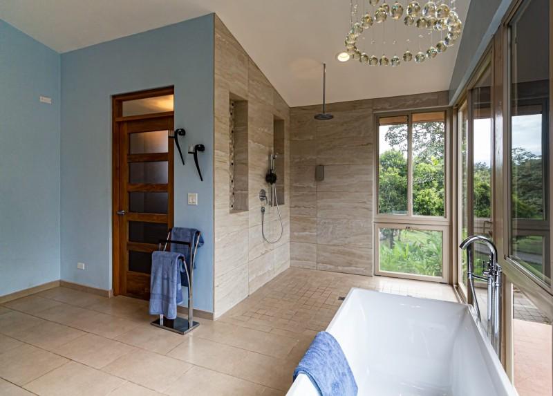 Open private rain shower
