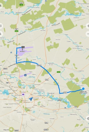 route from the property to the Otopeni airport