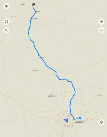 the route from the property to the  Carpathians