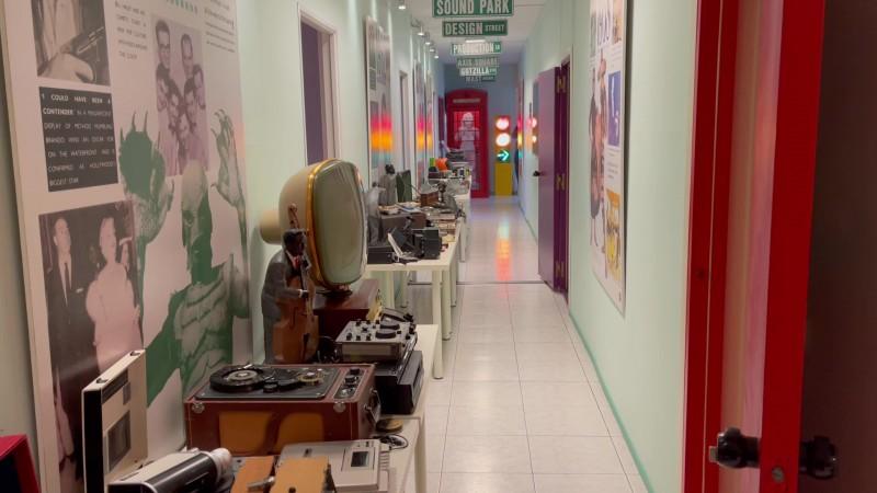 Long corridor with vintage equipment