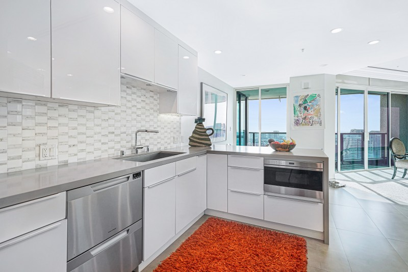 Remodeled kitchen with open wall