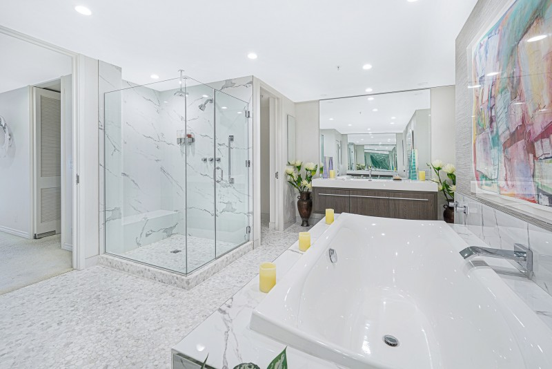 Remodeled bathroom with bidet and toilet