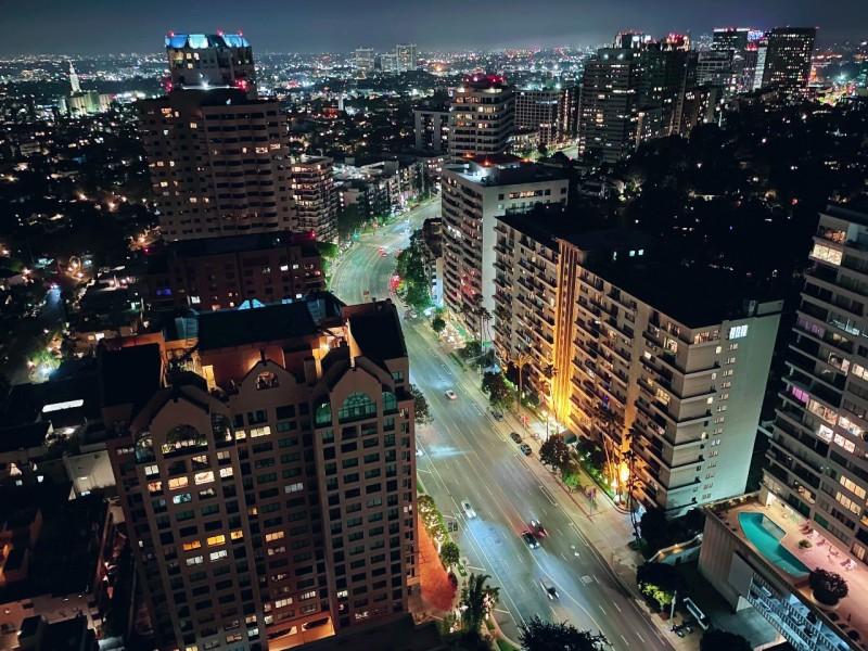 Night view from overlooking Wilshire corridor